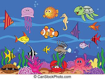 rysunek, morskie życie