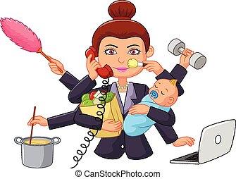 rysunek, multitasking, gospodyni