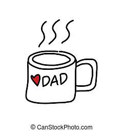 rysunek, ojcowy, ręka, rysunek, dzień, szczęśliwy