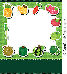 rysunek, owoc, karta