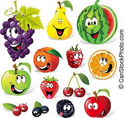rysunek, owoc, zabawny
