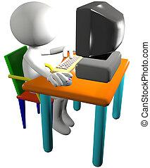 rysunek, pc komputer, używa, użytkownik, 3d, widok budynku