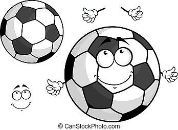 rysunek, piłka, maskotka, piłka nożna, albo, piłka nożna