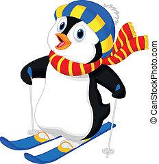 rysunek, pingwin, narciarstwo