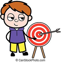 rysunek, pokaz, gol, chłopiec, dart-board