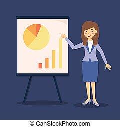 rysunek, prezentacja, wykres, kobieta interesu, wektor