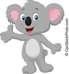 rysunek, przedstawianie, koala, sprytny