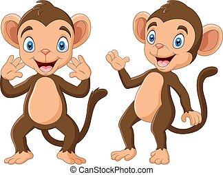 rysunek, ręka, szczęśliwy, falować, małpa