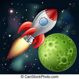 rysunek, rakieta, przestrzeń