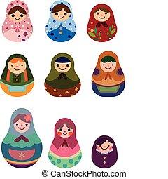rysunek, rosyjskie lalki