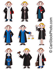 rysunek, sędzia, komplet, ikona