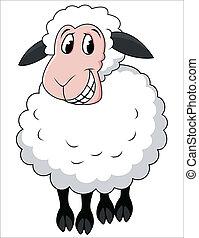 rysunek, sheep, uśmiechanie się