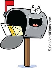 rysunek, skrzynka pocztowa, szczęśliwy