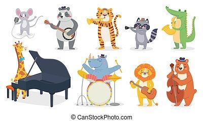 rysunek, sprytny, żyrafa, gra, gry, banjo, muzyka, piano, panda, aligator, saksofon, instruments., zwierzęta