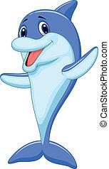 rysunek, sprytny, delfin, falować