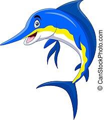 rysunek, sprytny, uśmiech, marlin, fish