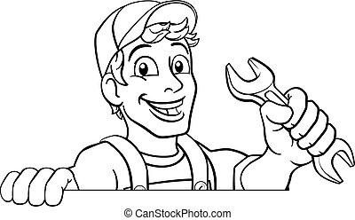 rysunek, szarpnąć, klucz do nakrętek, majster do wszystkiego, instalator, mechanik