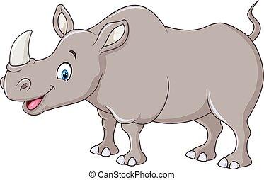 rysunek, szczęśliwy, nosorożec, reputacja