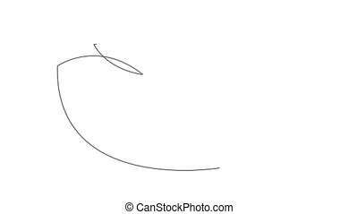 rysunek, tło., bird., jaźń, ożywienie, łabędź, space., kopia, biały
