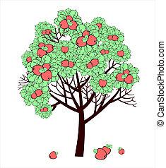 rysunek, wektor, drzewo, jabłko, owoce