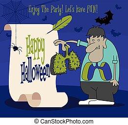 rysunek, woluta, halloween., papier, szczęśliwy, ciernie, płuco, retro, dzierżawa, litera, potwór
