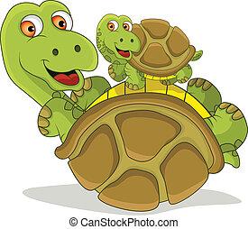 rysunek, zabawny, żółw