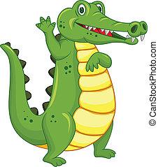 rysunek, zabawny, krokodyl