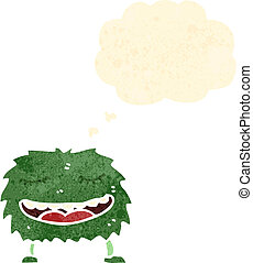 rysunek, zielony potwór, retro
