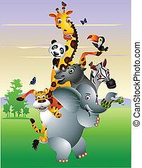 rysunek, zwierzę, afrykanin, dziki
