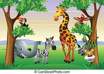 rysunek, zwierzę, zabawny, safari
