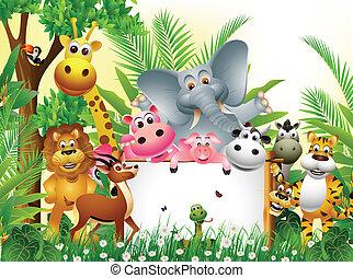 rysunek, zwierzę, zabawny