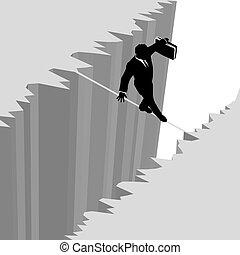 ryzyko, handlowy, niebezpieczeństwo, na, kropla, linoskoczek, przechadzki, człowiek, urwisko