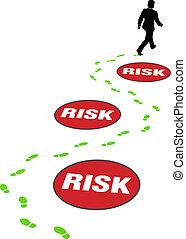 ryzyko, handlowy, niebezpieczeństwo, omijać, asekuracyjny człowiek