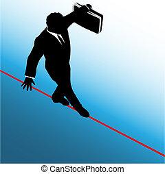 ryzyko, handlowy, niebezpieczeństwo, symbol, linoskoczek, przechadzki, człowiek