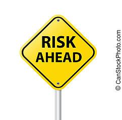 ryzyko, na przodzie, żółty znak, wektor, ilustracja, ostrzeżenie, droga