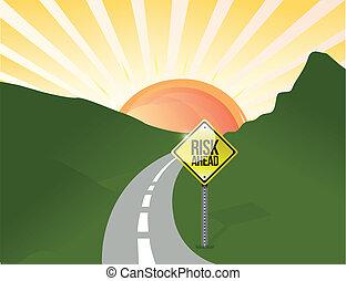 ryzyko, na przodzie, ilustracja, projektować, krajobraz, droga