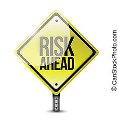 ryzyko, na przodzie, ilustracja, znak, projektować, droga