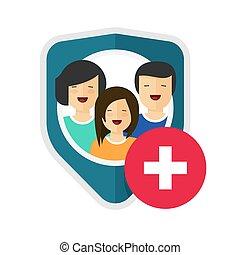 ryzyko, reportaż, pojęcie, tarcza, zdrowie, prywatny, ochrona, ikona, albo, troska, obrona, bezpieczeństwo, płaski, uchronić, wektor, pomoc, medyczny, rodzina, projektować, życie, pomoc, rysunek, symbol, znak, ubezpieczenie, rodzina