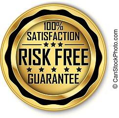 ryzyko, złoty, 100%, wolny, uiszczenie, wektor, etykieta, ilustracja, gwarantować