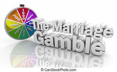 ryzyko, związek, ilustracja, małżeństwo, słówko, hazard, 3d