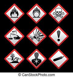 ryzykować, symbolika, czarne tło, znaki, bezpieczeństwo, nowy