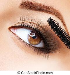 rzęsy, zwracający się, makeup., mascara., długi, make-up.