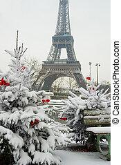 rzadki, śnieżny, eiffel, drzewo, paris., ozdobny, wieża, gwiazdkowy dzień