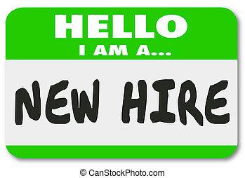 rzeźnik, najem, nowy pracownik, rekrut, świeży, nametag, zielony, talent