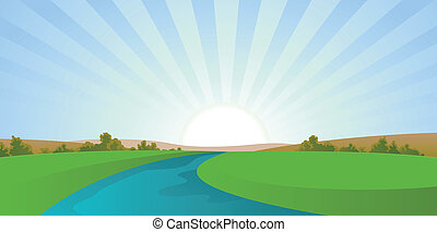 rzeka, rysunek, krajobraz