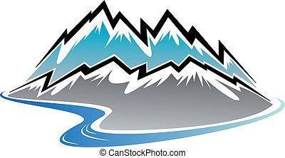 rzeka, szpice, góry