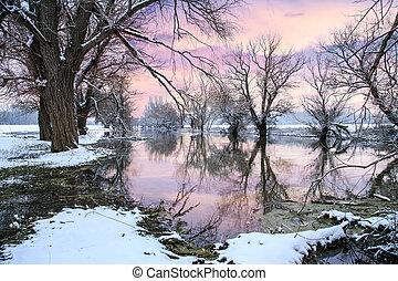 rzeka, zima krajobraz, zagyva