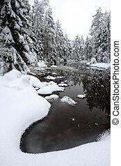 rzeka, zima