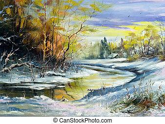 rzeka, zima, wieś