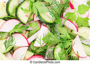 rzodkiewka, cucumber., sałata